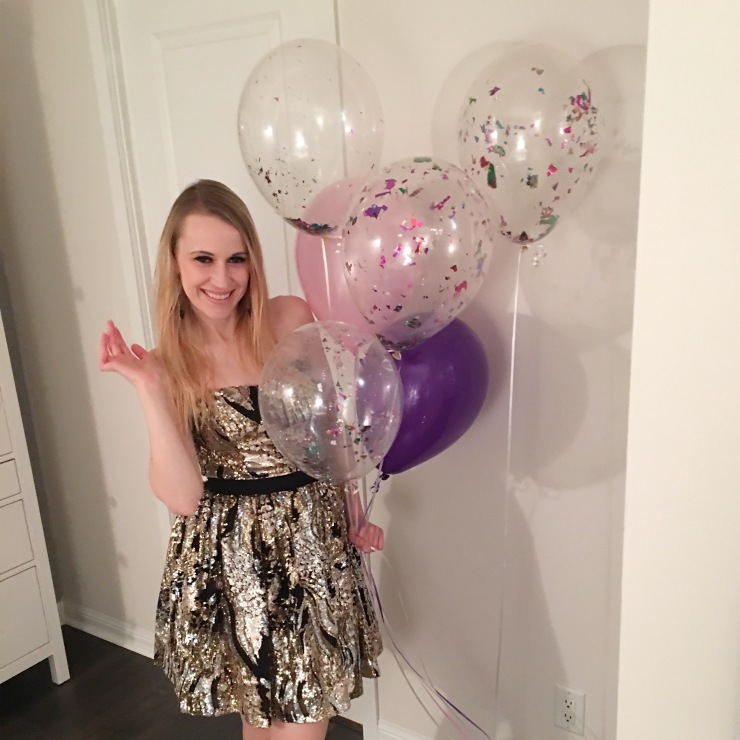 Birthday Girl with Confetti Balloons