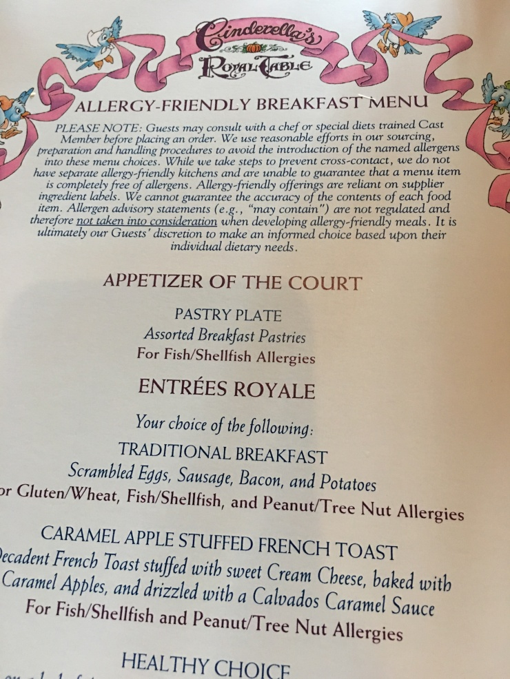 Cinderella's Breakfast Allergy-Friendly Menu