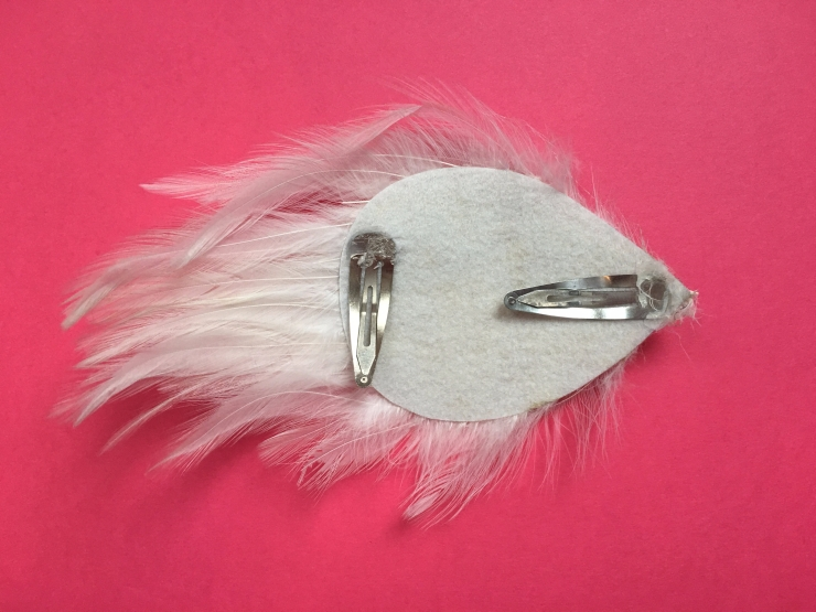 White Swan Feather Fascinator - Back