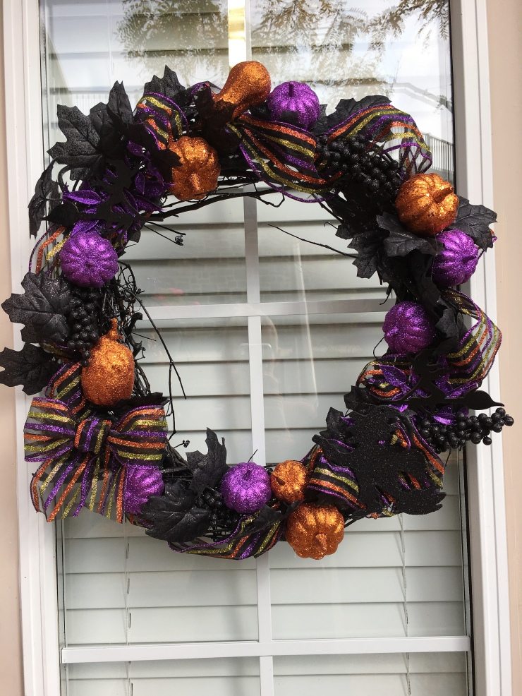 Halloween Wreath Purple and Orange