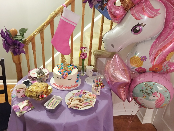 Unicorn Dessert Table and Balloons