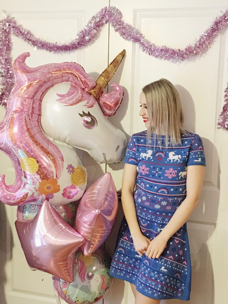 Christmas Unicorn Dress and balloon