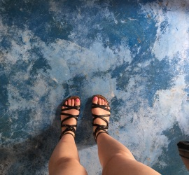 Blue Floor and gladiator sandals