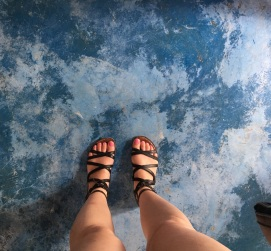 Blue Floor and gladiator sandals