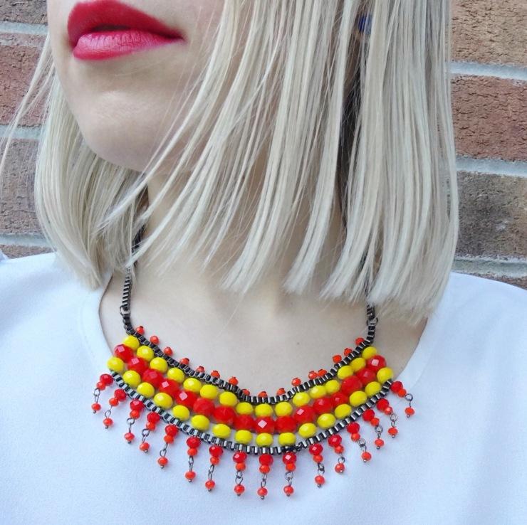 Handmade Necklace Red, Yellow, Orange - Etsy