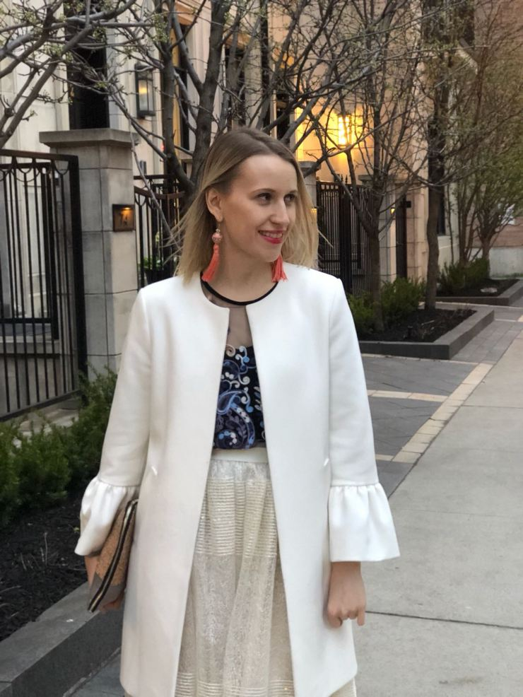 White coat with bell sleeves